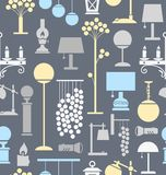 Lamps for home and garden, background, seamless, gray. Vector background with different lamps. Grey, light blue and yellow flat image on a gray background Stock Photos