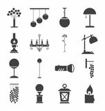 Lamps for home and garden, icons, monochrome. Royalty Free Stock Photos