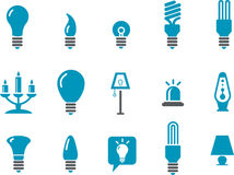 Lamps Icon Set. Vector icons pack - Blue Series, lamps collection Royalty Free Stock Photo