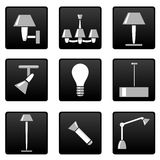 Lamps icons set Stock Photos