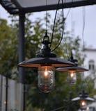 Lamps illuminated outdoors