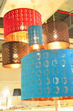 Lamps. Image of lighted colored lamps hanging from the roof Stock Images
