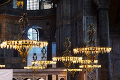 Lamps in interior of Hagia Sophia Cathedral royalty free stock photography