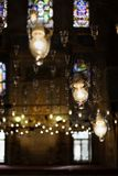 Lamps lighting mosque interior Royalty Free Stock Photography