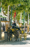 Lamps and lights at the fair. Carriage horses at the fair in Rota in Cadiz Spain, seen some people walking. is an editorial image vertically on a sunny day Stock Images