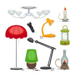 Lamps and lights. Vector chandelier, flashlight. Candle and oil lamp, rechargeable lamp, night light Stock Image