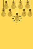 Lamps line on yellow background Stock Images