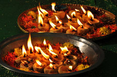 Lamps lit for marriage. Beautifully Lit Lamps for the Hindu Diwali festival or Hindu marriage Stock Photos