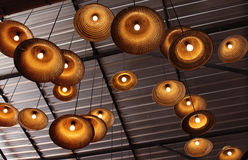 Lamps made of woven hats ideas Stock Image