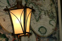 Lamps and map Royalty Free Stock Photos