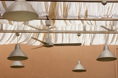Lamps in metallic lamp shades hanging Royalty Free Stock Photography