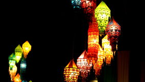 Lamps at night in Thailand stock video footage