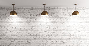 Lamps over brick wall interior background 3d render. Three brass lamps over grunge brick wall room interior background 3d render Stock Image