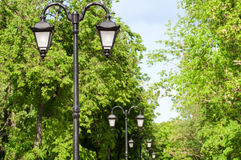 Lamps in the Park alley Stock Photo