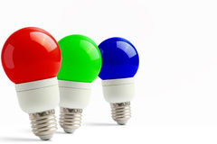Lamps in the queue with RGB Stock Photo