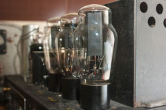 Lamps in retro amplifier closeup Royalty Free Stock Image