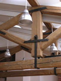 Lamps and roof timbers. Interior with lamps and roof timbers Royalty Free Stock Photo
