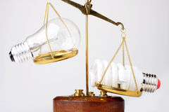 Lamps on the scales. Fluorescent lamp outweigh the incandescent lamp Royalty Free Stock Photo