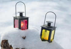 Lamps on snow Royalty Free Stock Photo