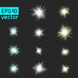 Set of vector lights on transparent Royalty Free Stock Photography