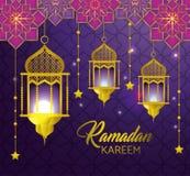 Lamps with stars hanging to ramadan kareem. Vector illustration vector illustration