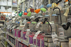 Lamps in the store. Home and office lighting products are displayed on the shelves in a hardware store Stock Images