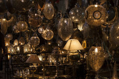 Lamps in a store in marrakesh morocco.  stock photo