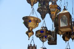 Lamps in a store in marrakesh morocco Stock Image