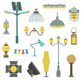 Lamps styles design electricity classic light furniture, different types electric equipment vector illustration. Royalty Free Stock Photos