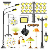 Lamps styles electric equipment vector. Lamps styles design electricity light furniture, different types electric equipment vector illustration. Vector lamps Royalty Free Stock Photography