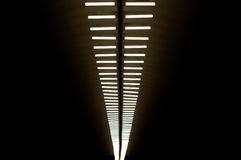 Lamps in subway. Row of lapms on the ceiling of the underground hall Royalty Free Stock Image