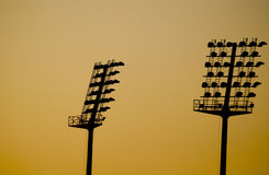 Lamps in sunset Royalty Free Stock Photo