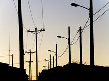 Lamps and telephone poles Stock Image