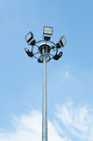 Lamps tower. A halogen lamps tower in a public garden Stock Image