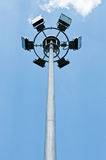 Lamps tower. A halogen lamps tower in a public garden Stock Photography