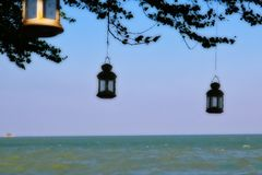 Lamps on a tree at the sea royalty free stock images