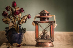 Lamps and vases with vintage Stock Image