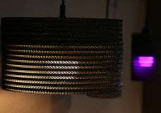 Lamps with warm light and violet Stock Photos