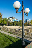 Lamps on the waterfront in Pomorie in Bulgaria Stock Images