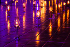 Lamps were lit and placed on the ground. Stock Photography