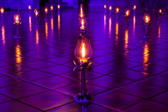 Lamps were lit and placed on the ground. Royalty Free Stock Image