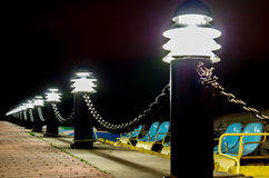Lamps at yacht harbour Royalty Free Stock Images