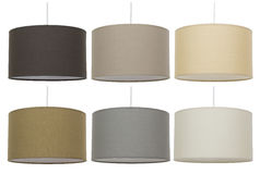 Lampshades Collage.   Decor. Lightning equipment. Suspended ceiling lights. Isolated on white background Royalty Free Stock Images