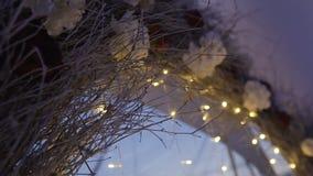 Lampslingers op dak bij de avond stock footage