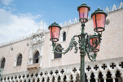 Lamptlight & Doge's palace in Venice, Italy Stock Images