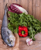 Lampuga Fish With Fresh Vegetables Stock Images