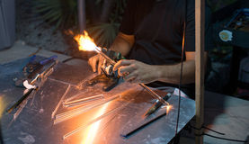 Lampworking and Glass Rods Royalty Free Stock Images