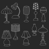 Lampy doodle ikon wektoru set Zdjęcia Royalty Free