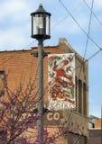 Lampy i flaga odświętność Głęboki Ellum, Dallas, Teksas Zdjęcia Stock