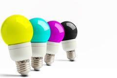Lampy w kolejce z CMYK Fotografia Royalty Free